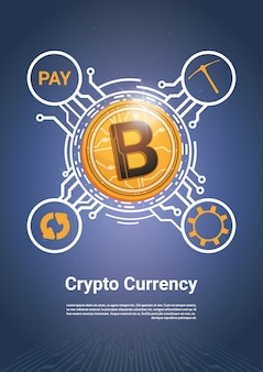Crypto currency bitcoin payment icon concept de web d'argent numérique