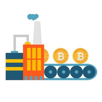 Crypto currency production bitcon mining conveyor technology modern web money concept vector illustration