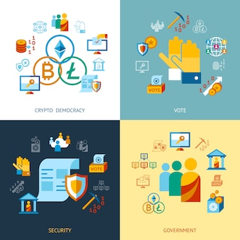 Crypto démocratie et collection d'icônes de sécurité