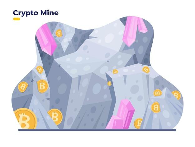 Crypto mine vector illustration plate digital bitcoin mine cave concept