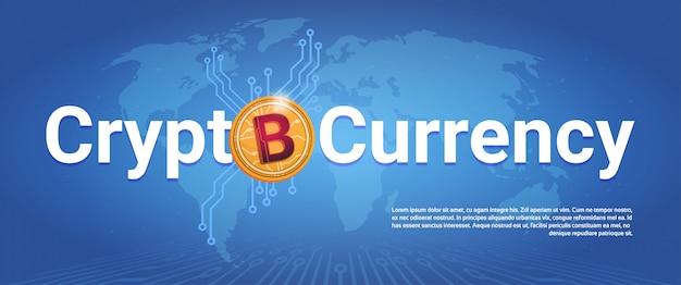 Crypto-monnaie bannière horizontale bitcoin doré sur fond de carte du monde digital web money concept