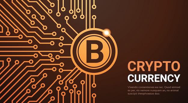 Crypto, monnaie, bannière web, bitcoin doré, monnaie, argent, concept, circuit, fond