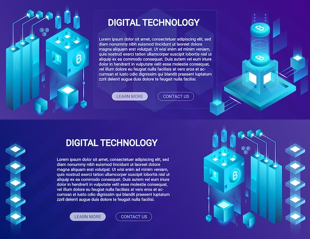 Crypto-monnaie, bitcoin, bannières horizontales isométriques blockchain avec place web de texte et de boutons.
