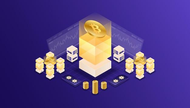 Crypto-monnaie, bitcoin, blockchain, exploitation minière, technologie, internet iot, sécurité, illustration isométrique du tableau de bord