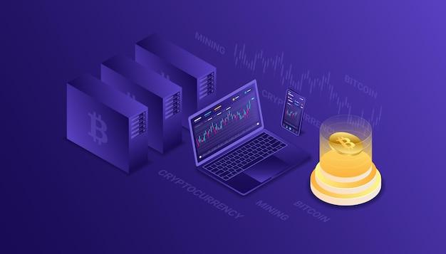 Crypto-monnaie, bitcoin, blockchain, exploitation minière, technologie, internet iot, sécurité, ordinateur cpu illustration isométrique de tableau de bord réactif