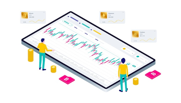 Crypto-monnaie bitcoin blockchain technologie minière internet iot sécurité site web tableau de bord isométrique 3d plat illustration