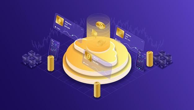 Crypto-monnaie, bitcoin, ethereum, cardano, blockchain, exploitation minière, technologie, internet iot, sécurité, ordinateur cpu illustration isométrique de tableau de bord mobile