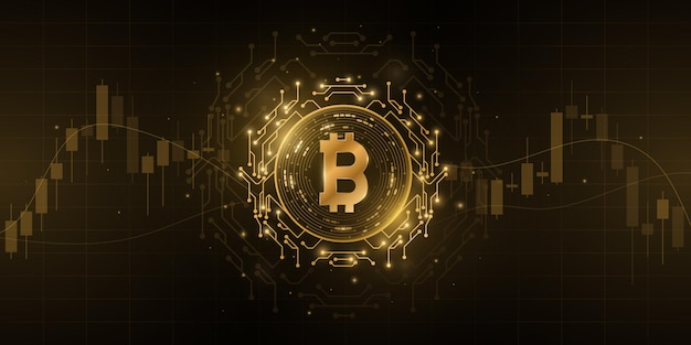 Crypto-monnaie bitcoin avec fond de modèle de prix chandelier. pièce numérique btc pour bannière, site web ou présentation. concept d'entreprise futuriste. blockchain pour la conception graphique. illustration vectorielle