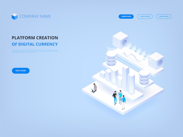 Crypto-monnaie et blockchain, création de la plate-forme d'une bannière de devise numérique