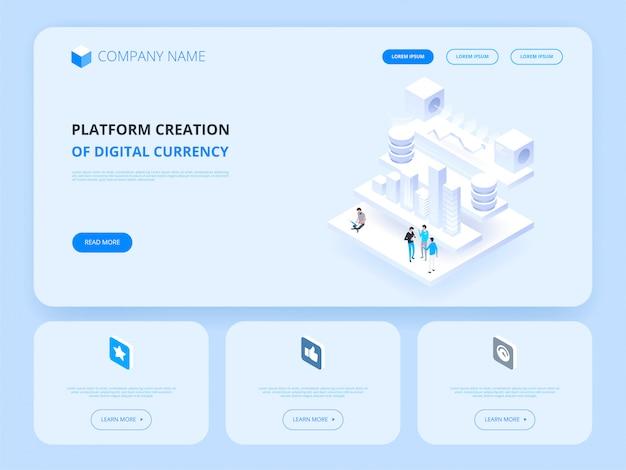 Crypto-monnaie et blockchain. création de plateforme de monnaie numérique. en-tête du site web. affaires, analytique et gestion.