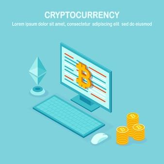 Crypto-monnaie et blockchain. extraction de bitcoins. paiement numérique avec argent virtuel, finance