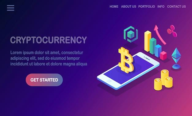 Crypto-monnaie et blockchain. extraction de bitcoins.