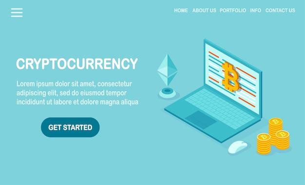 Crypto-monnaie et blockchain avec ordinateur isométrique