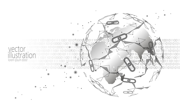 Crypto-monnaie internationale à chaînes multiples, planet space low poly