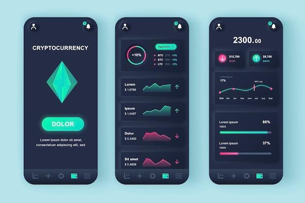 Crypto-monnaie minière application mobile d'interface utilisateur de conception neumorphique moderne
