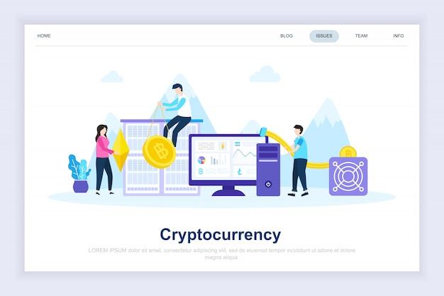 Crypto-monnaie moderne page de destination plate