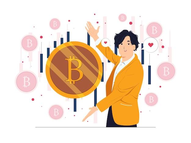Crypto-monnaie et technologie blockchain investissement en argent numérique et illustrations de concept de trading bitcoin