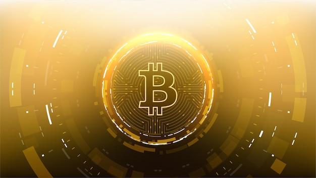 Crypto-monnaie de la technologie de science-fiction futuriste golden bitcoin.