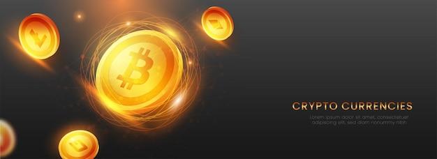 Crypto-monnaies dorées 3d avec effet de lumière sur fond noir. conception d'en-tête ou de bannière.