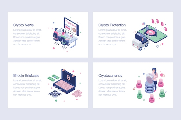 Cryptocurrency, bitcoin, illustrations vectorielles blockchain
