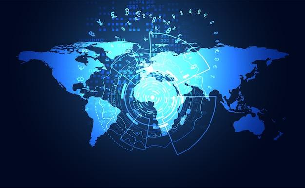 Cryptomonnaie globale de la technologie abstraite