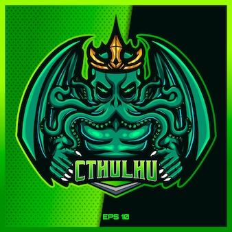 Cthulhu vert saisir le texte esport et la création de logo de mascotte de sport dans le concept d'illustration moderne pour l'insigne d'équipe, l'emblème et l'impression de soif. illustration de cthulhu fou sur fond vert. illustration
