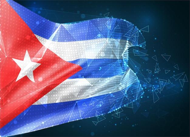 Cuba, drapeau vectoriel, objet 3d abstrait virtuel à partir de polygones triangulaires sur fond bleu