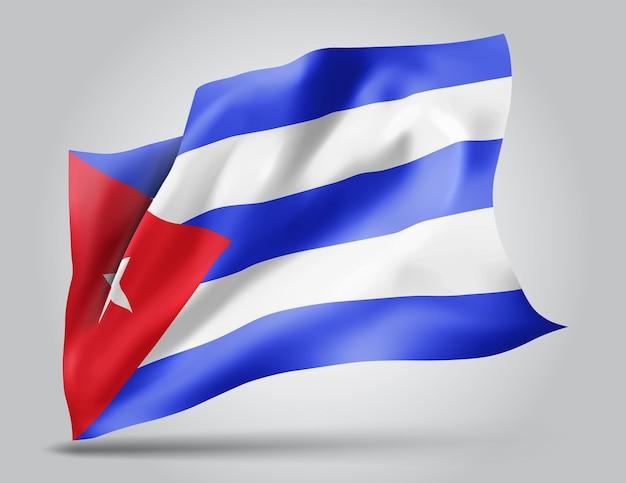 Cuba, drapeau vectoriel avec des vagues et des virages ondulant dans le vent sur fond blanc.