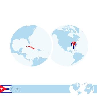 Cuba sur globe terrestre avec drapeau et carte régionale de cuba. illustration vectorielle.