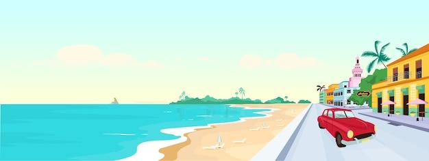 Cuba plages illustration couleur plate
