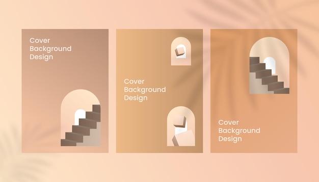 Cube 3d abstrait et escaliers marron or dégradé a4 design de fond de couverture de luxe.