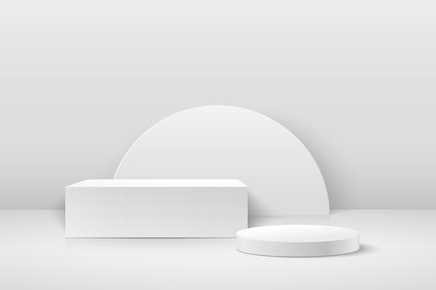Cube abstrait et affichage rond pour produit sur site web dans un style moderne.