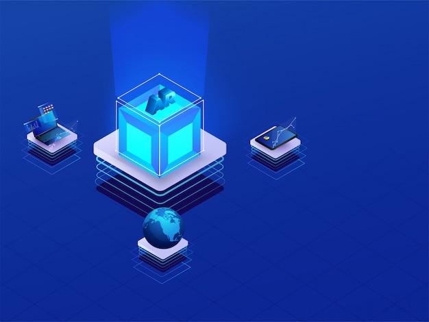 Cube ar isométrique 3d connecté avec un ordinateur portable, une tablette et un globe