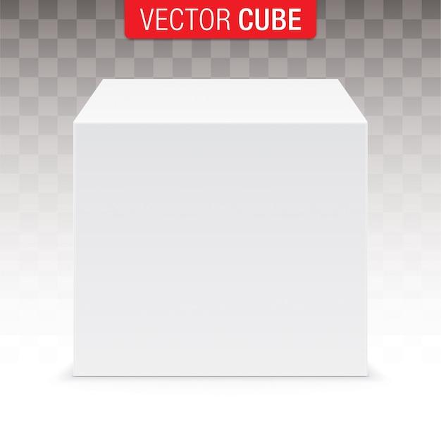Cube blanc isolé sur fond transparent.