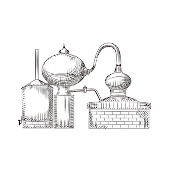 Cube de cuivre dessiné à la main isolé sur fond blanc. style gravé vintage alembic.