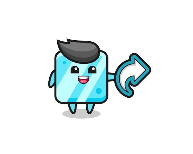 Un cube de glace mignon tient un symbole de partage de médias sociaux, un design de style mignon pour un t-shirt, un autocollant, un élément de logo