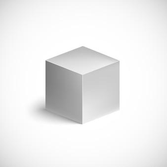 Cube gris sur blanc