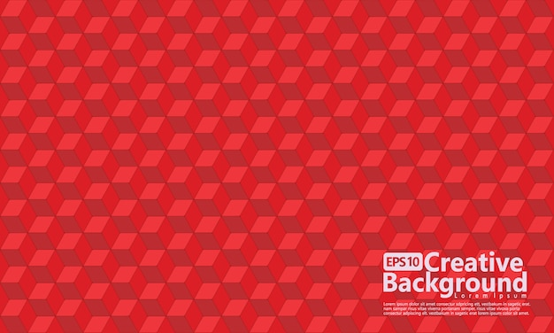 Cube hexagonal forme géométrique, couleur rouge.
