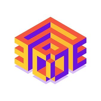Cube isométrique 3d