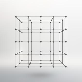 Cube de lignes et de points. cube des lignes reliées aux points. réseau moléculaire. la grille structurelle des polygones. fond blanc. l'installation est située sur un fond de studio blanc.