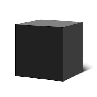 Cube noir. boîte carrée. illustration.