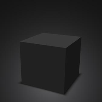 Cube noir. boîte. illustration.