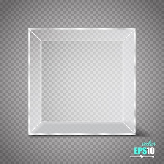 Cube de verre transparent isolé sur transparent.