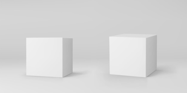 Cubes 3d blancs sertis de perspective isolés sur fond gris. boîte de modélisation 3d avec éclairage et ombre. icône de vecteur réaliste.
