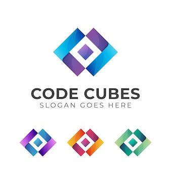 Cubes avec conception de dégradé de modèle de logo de code