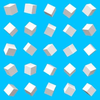 Cubes définis avec des rotations aléatoires par cube