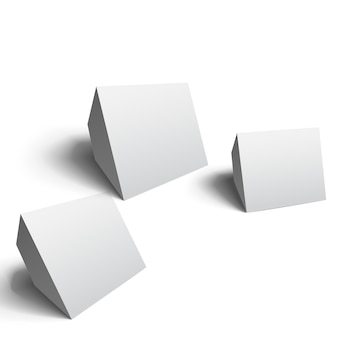 Cubes géométriques abstraits dans différentes positions sur blanc isolé