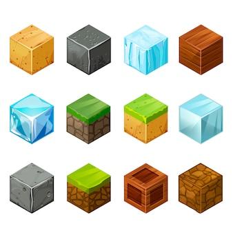 Cubes isométriques big set éléments nature