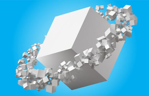 Cubes de taille aléatoire tournant en orbite elliptique autour du cube