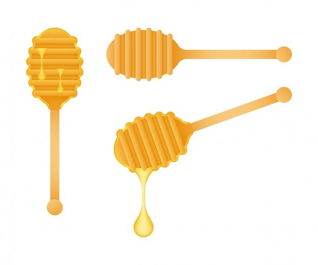 Cuillère en bois pour une douceur liquide. honey dipper. illustration de stock.